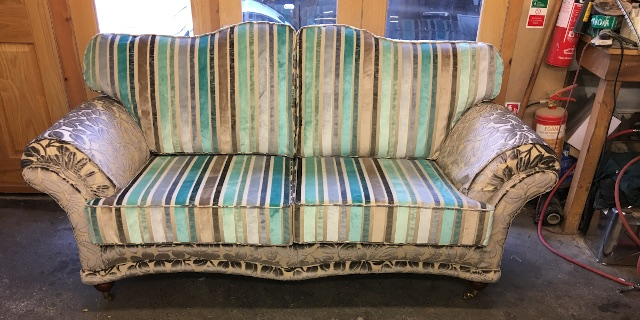 Sofa in upholstery workshop, Leicester