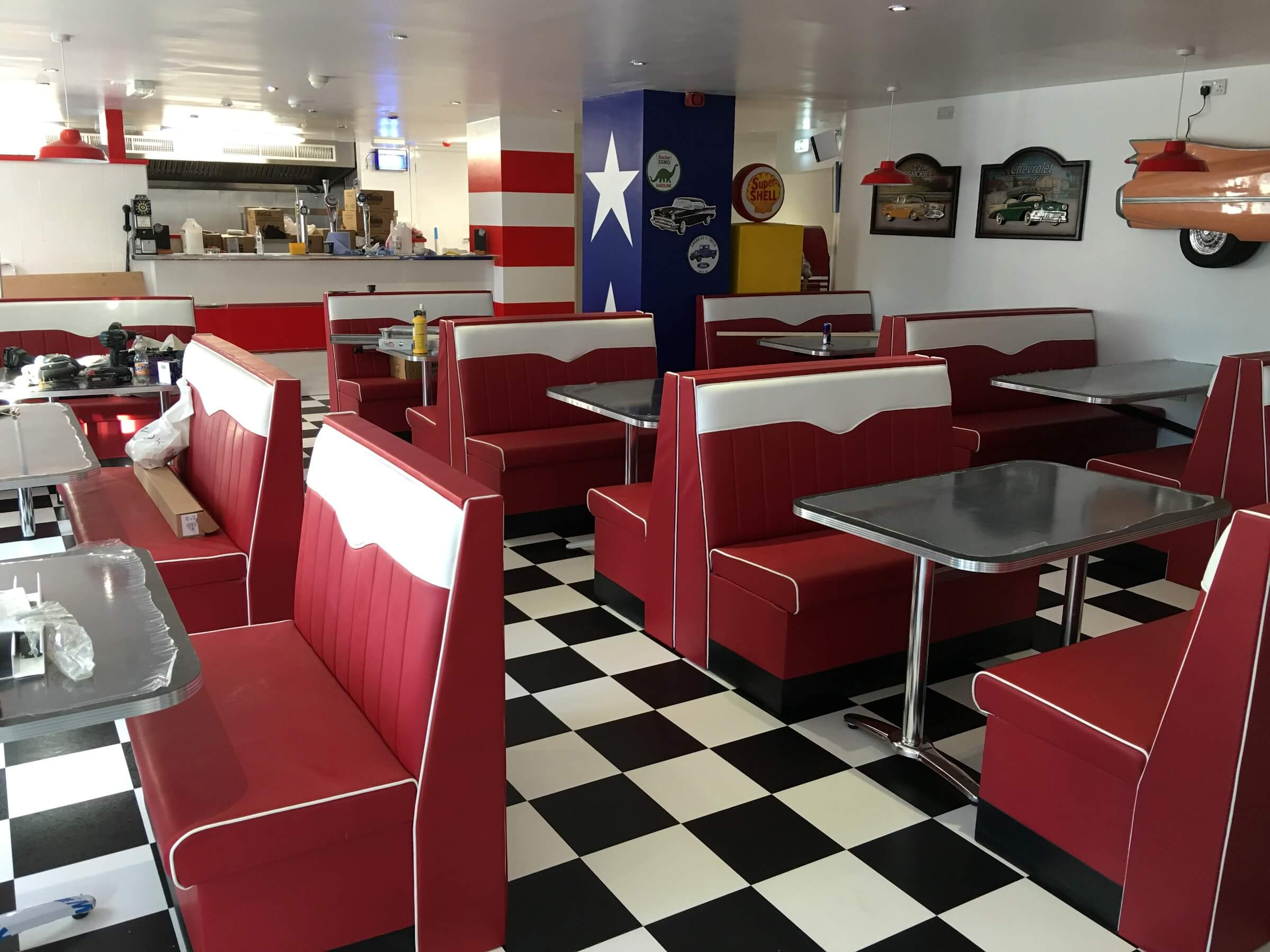 American diner, upholstery contract work, Leicester