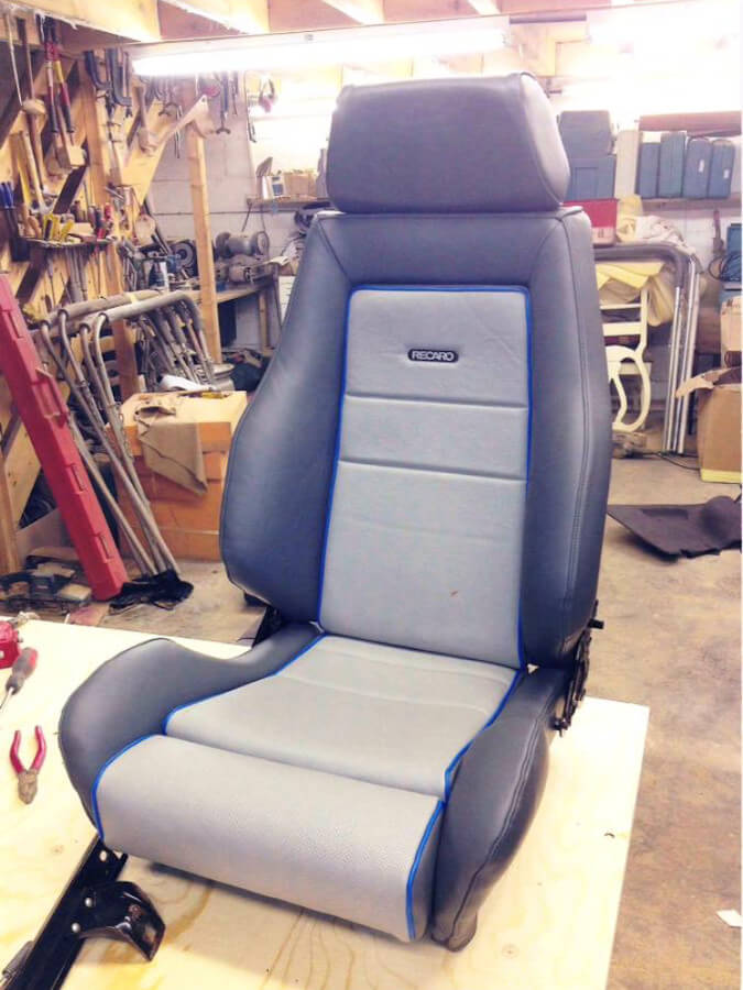 Bucket seat in upholstery workshop, Leicester
